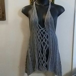 Gray Hollister Crochet/Knit Vest